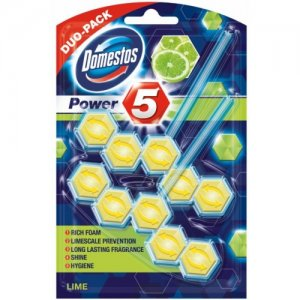 Domestos Power 5 Lime tuhý WC blok 2x55g