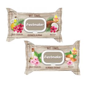 Freshmaker Coconut&Almond vlhčené utierky 144ks s klipom