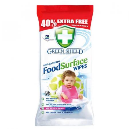 Greenshield Food Surfaces antibakteriálne vlhčené obrúsky 70ks