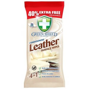 Greenshield Leather 4v1 vlhčené obrúsky 70ks
