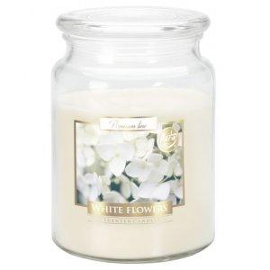 Bispol White Flowers vonná sviečka v skle s viečkom SND99-179 Doba horenia: cca 100 hodín Výška: 14cm Priemer: 9,9cm