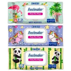 Freshmaker detské vlhčené obrúsky 72ks uzatvárateľné s klipom s detským vzorom