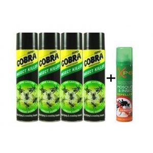 Set Cobra Super insekticíd univerzálna 400ml 4ks+1ks Xpel repelent 100ml zdarma