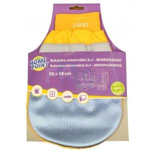 Home Point čistiaca rukavica z mikrovlákna 20x28cm 3v1 1ks